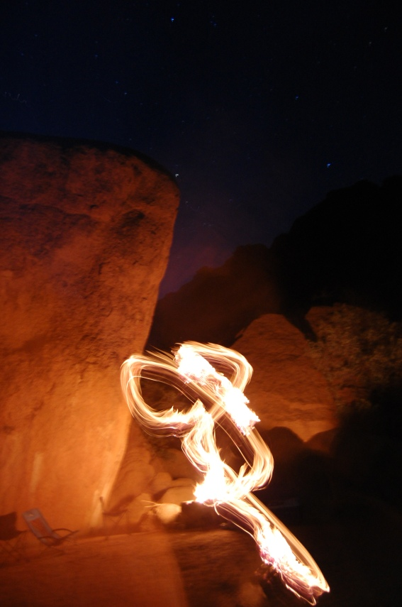 Caveman fire and stars at Spitzkoppe